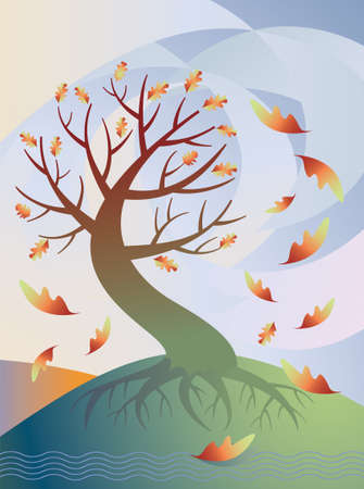 Vector illustration of a sinuous tree losing its leaves in the wind in autumn