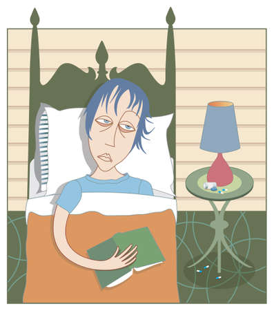misery: Woman in bed looking blah and depressed, reading (perhaps) a self-help book, spilled bottle of anti-depressants on bedside table (can be removed). Illustration