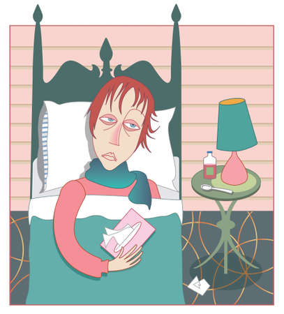 miserável: Woman in bed looking miserable with a head cold and flu, with tissue box and cough syrup