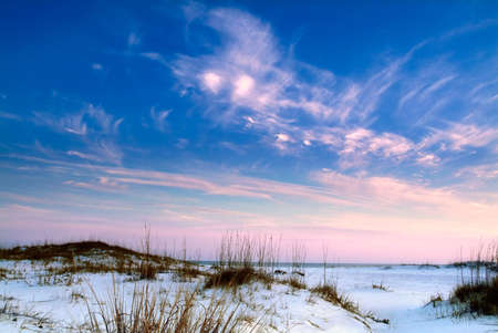 Beach landscape at dusk with white sands, pink and blue sunset and seaoats, very colorful photo