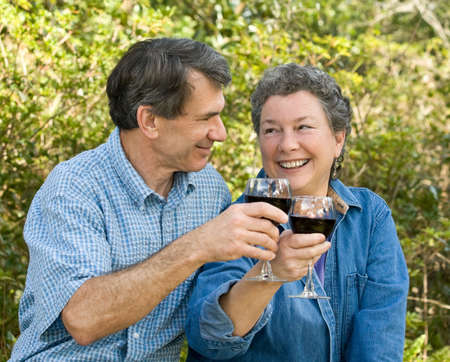Attractive 50s-60s couple toasting with red wine, outdoor setting Stock Photo - 2550984