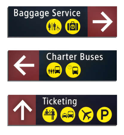 Three Directional Airport Signs isolated on white background photo