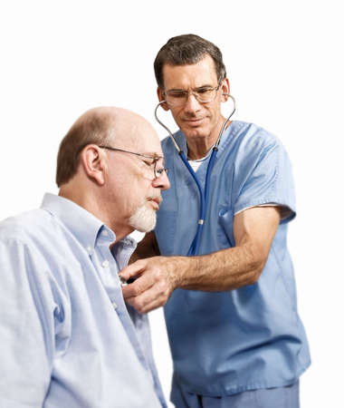 Male nurse or doctor listening with stethoscope to patient's heart and lungs