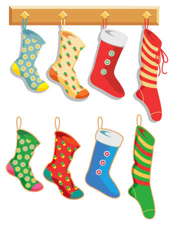 Colorful Christmas Stockings hanging on hooks. Layers make separating stockings from rack and shadows easy. Ilustração