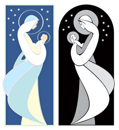 Virgin Mary holding  Jesus, art nouveau style, in full color and grayscale.