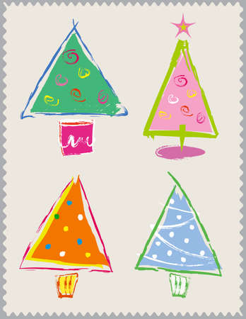 Four colorful, hand-drawn, vector Christmas Trees Vector