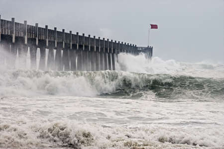 Photo taken amid seaspray and crashing waves as Hurricane Ikes outer bands impact the Florida coast, September 2008.