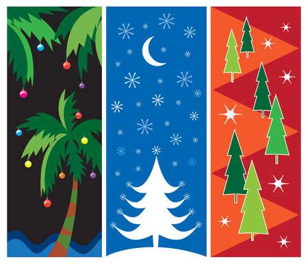 Drei colorful Christmas vector Designs für Karten, Plakate, Ad Grenzen, Web-Design, etc..  Standard-Bild - 3637805