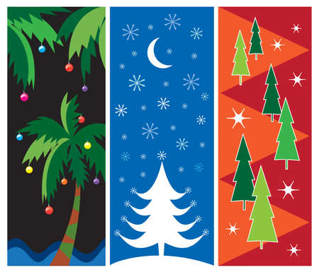 Three colorful Christmas vector designs for cards, posters, ad borders, web design, etc.  Vector
