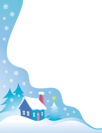 Night time snow scene vector Christmas Border Stock Vector - 3767290