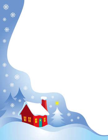 Night time snow scene vector Christmas Border Vector