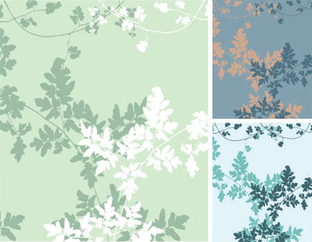 Vector floral background of delicate vines. Colors on separate layers, including extra color schemes.