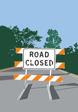 blocco stradale: Illustrazione vettoriale di una strada e chiuso Registrati barricata Vettoriali