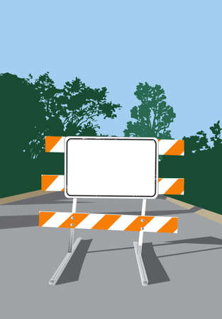 blockade: Vector illustration of a Blank Road Closed Sign and Barricade. Add your own message or warning!