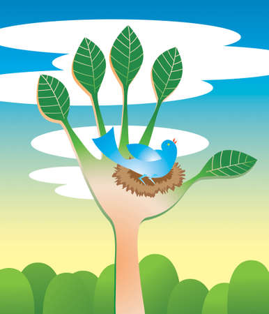 hands holding tree: Blue bird happily nesting in a tree that looks like a helping hand. Green ecology, conservation and friend-of-nature theme. Illustration
