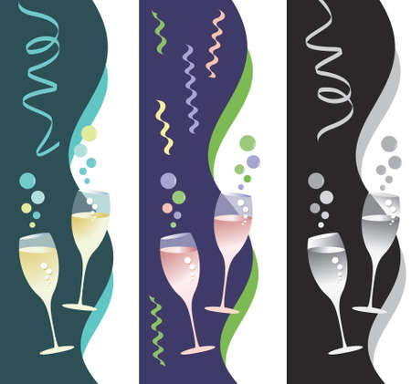 Three party, celebration, New Year's or Mardi Gras theme designs for brochures, flyers, invitations, ad mats, websites, posters, etc.  Illustration