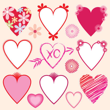 A collection of hearts and flowers illustrations and borders in vector format for Valentines cards, ads, posters, artwork, etc. Each item grouped for easy selection. Background color easily removed. Vector