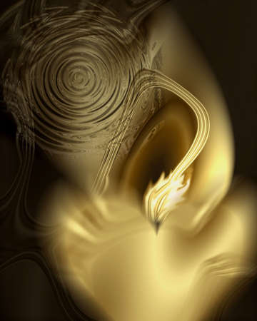 Dramatic abstract illustration of a melting, glowing, golden being pierced by a flaming arrow of light coming out of a swirling vortex. Computer generated raster art.