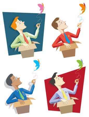 """Vier separate Grafiken illustrieren die Metapher """"Querdenken"""". Standard-Bild - 4085710"""