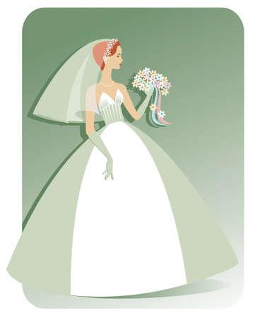 예쁜 꽃의 꽃다발을 들고 strapless 웨딩 드레스에 꽤, 슬림, 백인 신부의 그림. 배경은 더 많은 복사 공간을 위해 쉽게 확장 될 수 있습니다. 일러스트