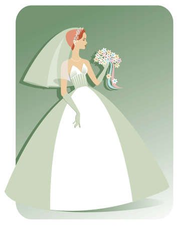 Illustration of a pretty, slender, Caucasian bride in a strapless wedding gown holding a bouquet of flowers. Background can be easily extended for more copy space.