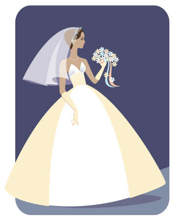 Illustration of a pretty, slender, Ethnic bride in a strapless wedding gown holding a bouquet of flowers. Background can be easily extended for more copy space.