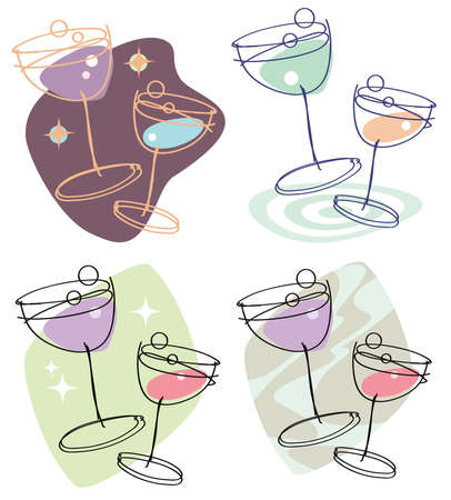 Set of 4 stylish line-drawing illustrations showing two wine glasses with differing colors and backgrounds. Easily editable.  Иллюстрация