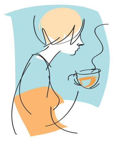 ersch�pft: Vector Zeichnung einer m�de sucht Frau trinken ihr Morgen Weck-Tasse Kaffee.
