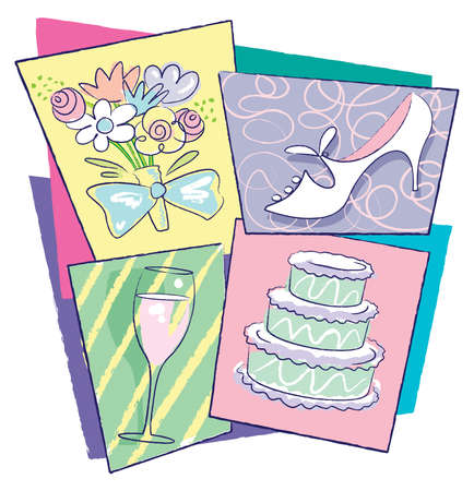 Collage of Art elements for weddings: cake, slipper, champagne flute and bouquet of flowers. Bright colorful contemporary hand-drawn style. Items separated in layers. Background easily removed or changed.