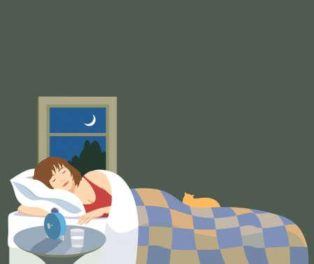 mujer acostada en cama: Ilustraci�n vectorial de una mujer durmiendo pac�ficamente. Hay un gato en la cama, con ventana de luz y del cielo nocturno y luna creciente.