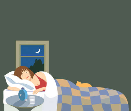 woman lying in bed: Vector illustration of a woman peacefully sleeping. There is a cat on the bed, nightstand and window with night sky and crescent moon.