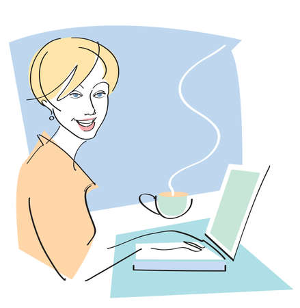 Vector illustration of pretty woman at laptop computer with cup of coffee. Çizim