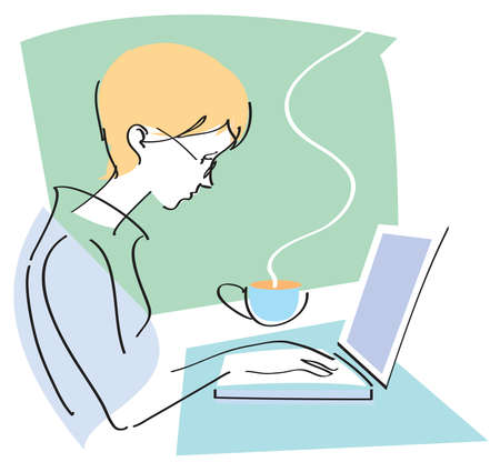 Vector illustration of young businesswoman or student typing at her laptop computer with cup of coffee
