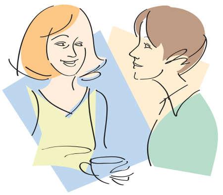 コーヒーを飲みながら会話をする 2 人の女性の友人のベクトル イラスト