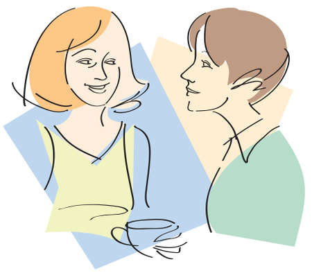 Vector illustration of two women friends having a conversation over coffee Illustration