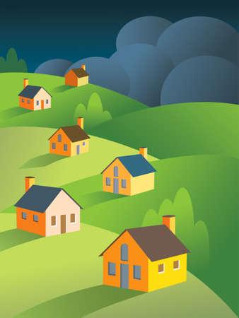 metafoor: Donkere, dreigende onweerswolken voorbeduiden stormen op een vreedzame groep huizen. Goede metafoor voor de vastgoed  huisvesting crisis.