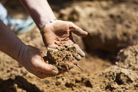 Closeup of hands holding recently tilled dirt in the garden prior to planting. Standard-Bild