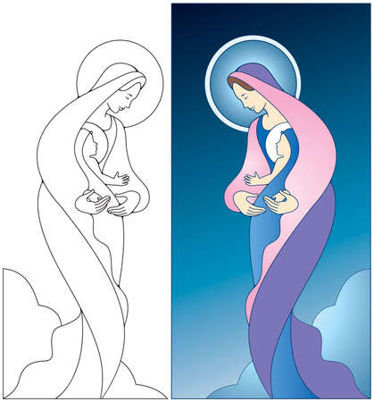 Virgin Mary holding baby Jesus, color and black and white images included.