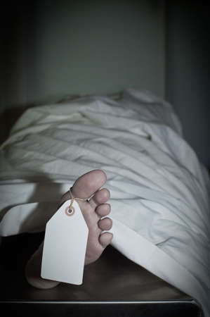 Dark atmospheric photo of body covered with a sheet in a morgue, feet toward camera with blank tag on the big toe. Feet are clean and smooth; body is a model.
