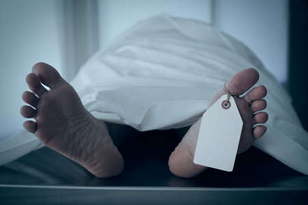 autopsy: Blue toned photo of body covered with a sheet in a morgue, feet toward camera with blank tag on the big toe. Feet are smooth and clean. (body is a model) Stock Photo