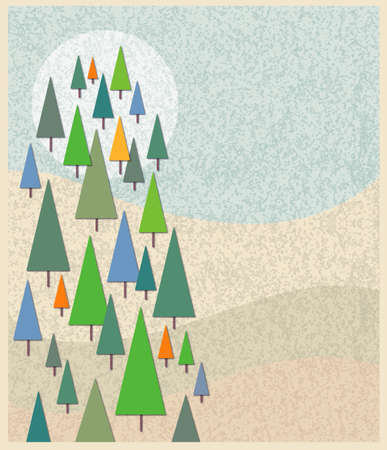 spare: Forest of evergreens in a spare contemporary style. Good layout for Ad mortice or flyer, OR, flop the whole thing and fold in half for a tall Christmas card.