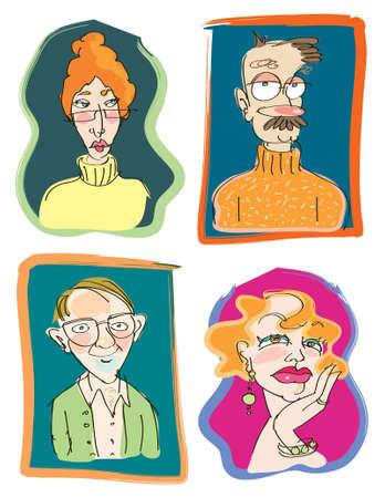 personalidad: Cuatro divertidas ilustraciones vectoriales de profesor