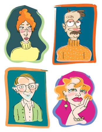 theatrical: Four funny vector illustrations of teacher