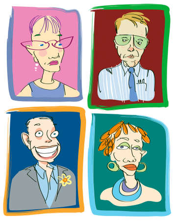 nutty: Four funny vector illustrations of teacher