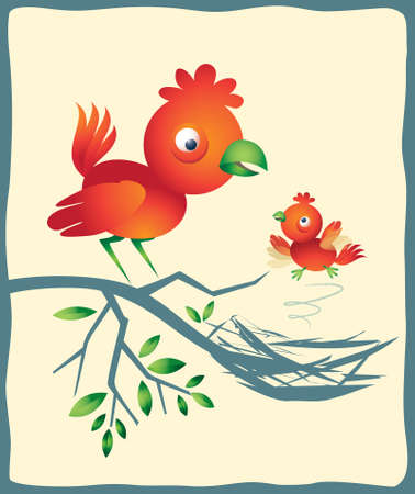 Colorful vector illustration of a father or mother bird looking approvingly at it's chick as it demonstrates it's latest efforts at flight. For some reason, this makes me think of home schooling! Illusztráció