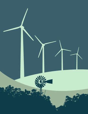 Windmil and Wind Turbines Illustration