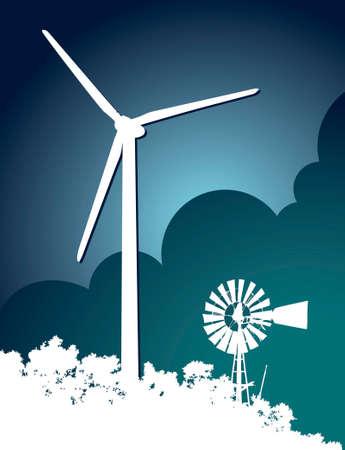 Windmil and Wind Turbine 2 Vector
