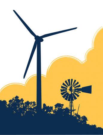 Windmil en Wind Turbine Vector Illustratie