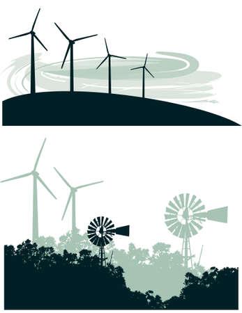 kyoto: Due vector illustrazioni del vecchio mulino a vento e gli alberi in contrasto con una fila di turbine eoliche moderna su una  Vettoriali