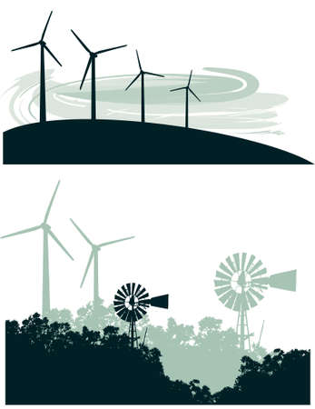 Two vector illustrations of old-fashioned windmill and trees contrasted with  a row of modern wind turbines on a  Illustration